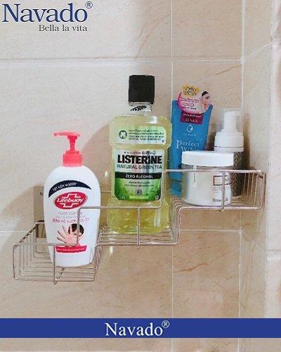 Kệ inox đựng đồ nhà tắm dán tường Gs-5015
