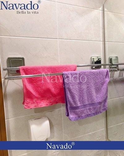 Phụ kiện inox phòng tắm vắt khăn đôi dán tường navado