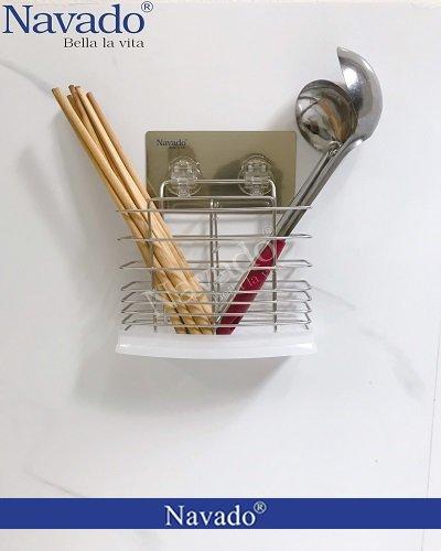 Giá inox đựng đũa inox dán kính bếp