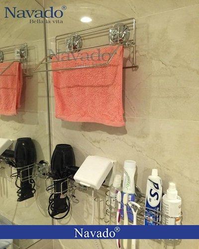 Giá inox treo khăn không khoan tường