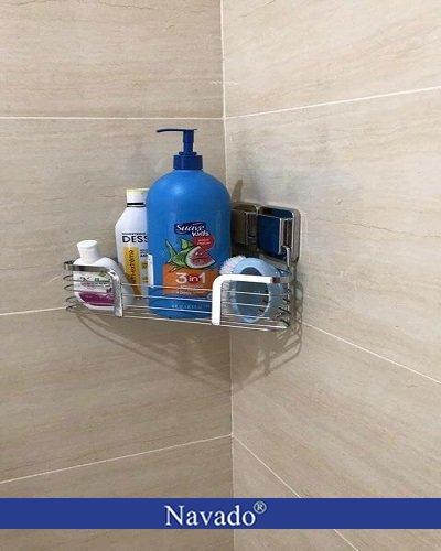 Giá đựng đồ nhà tắm góc dán tường