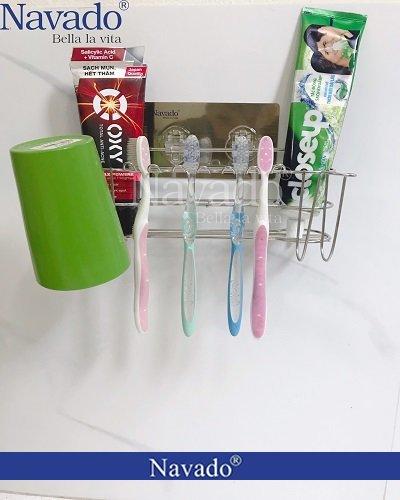 Kệ đựng bàn chải kem đánh răng hai cốc