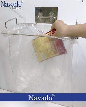 Kệ đựng rác inox dán tường bếp