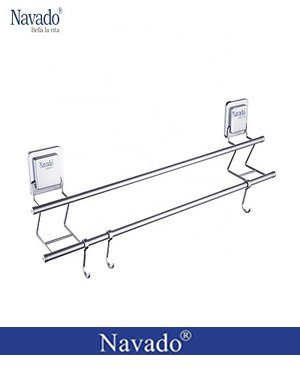 Phụ kiện phòng tắm vắt khăn đôi dán tường kính