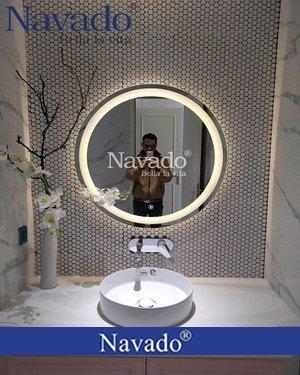 Gương nhà tắm đèn led màu vàng D600