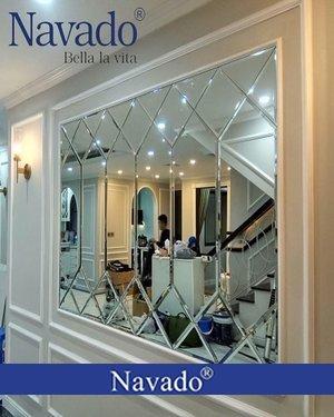 Gương ghép trang trí phòng khách luxury