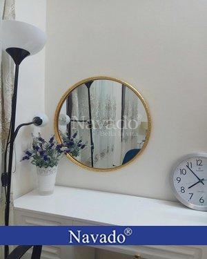 Gương trang điểm hình tròn viền vàng