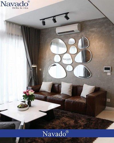 Gương decor trang trí phòng khách bãi đá