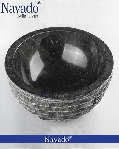 Chậu đá cuội tự nhiên lắp cho công trình