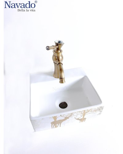 Bộ vòi chậu rửa lavabo sứ nghệ thuật cao cấp