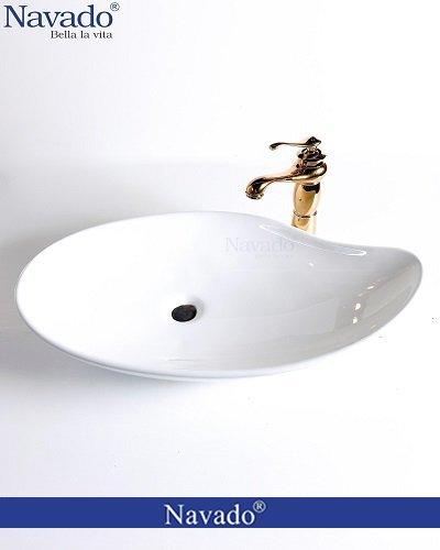 Bộ vòi chậu rửa lavabo sứ nghệ thuật cho công trình