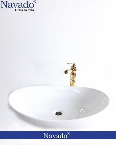 Bộ vòi chậu rửa lavabo sứ nghệ thuật cho biệt thự vườn