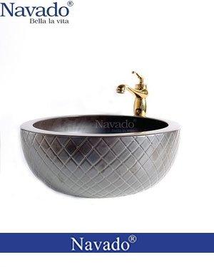 Bộ vòi chậu rửa lavabo sứ nghệ thuật mặt tròn