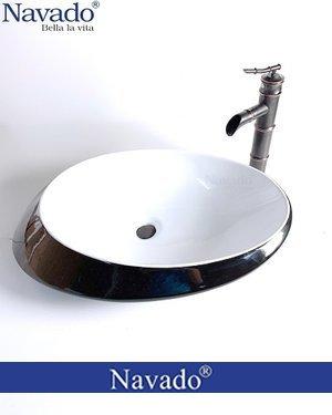 Bộ vòi chậu rửa lavabo sứ nghệ thuật phòng tắm luxury RS 1342WB