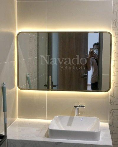 Gương phòng tắm hình chữ nhật khung inox