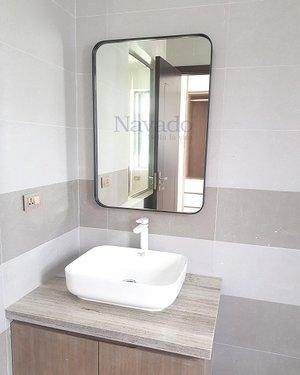 Gương khung thép mạ tĩnh điện phòng tắm